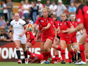 Emily Belchos in action. England v Canada Pool A match at WRWC 2014 at Centre National de Rugby, Marcoussis, France, on 9th August 2014